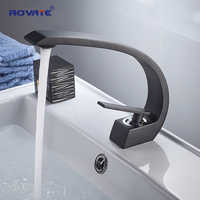 ROVATE Basin Faucet Brass Black Vessel Sink Mixer Tap Hot and Cold Water Bathroom Faucets