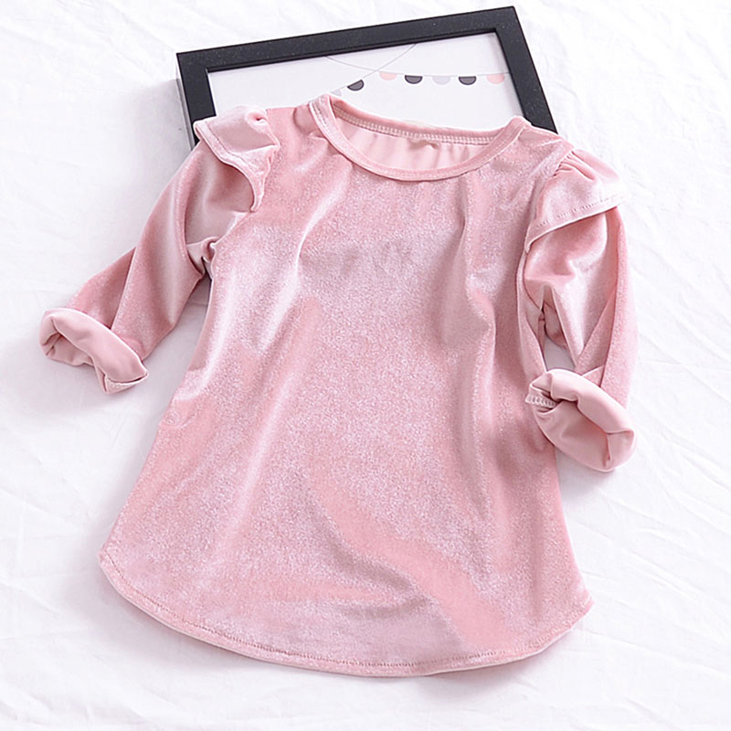 New Kids Baby Girls Tops Dressing Solid Color Long Sleeve Childrens Girls Dress Velvet Clothes M1 ...