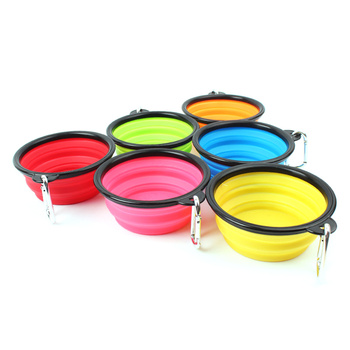 New Collapsible foldable silicone dog bowl candy color outdoor travel portable puppy doogie food container feeder dish on sale 2