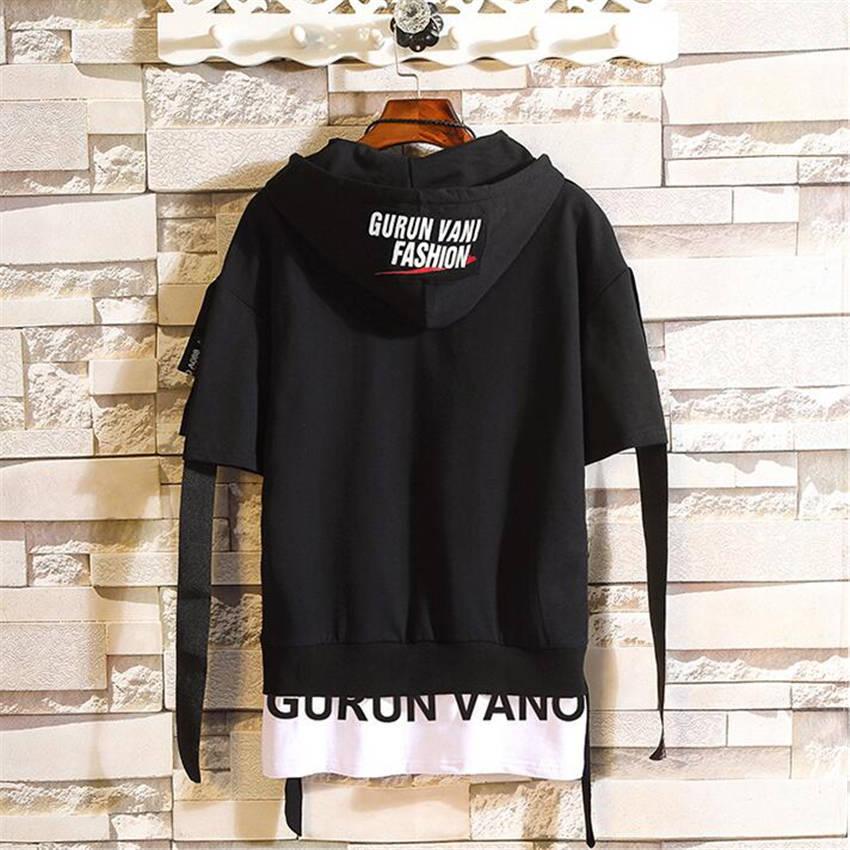 2019 Summer New Streamer Decoration Loose Sweatshirt Men Fashion Casual Trend Brand Letter Print Hem Short Sleeve Hoodies Mens 4