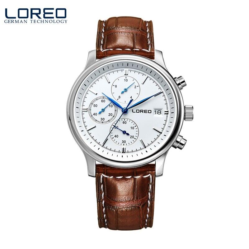 ФОТО LOREO quartz watch waterproof 50M Calendar Chronograph brown Leather belt relogio masculino