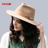 0926XB امرأة خمر الكاكي الأسود 100% الصوف أزياء الشتاء الضفر بريم الجاز قبعة فيدورا مع حزام الديكور اللباد XB-D729