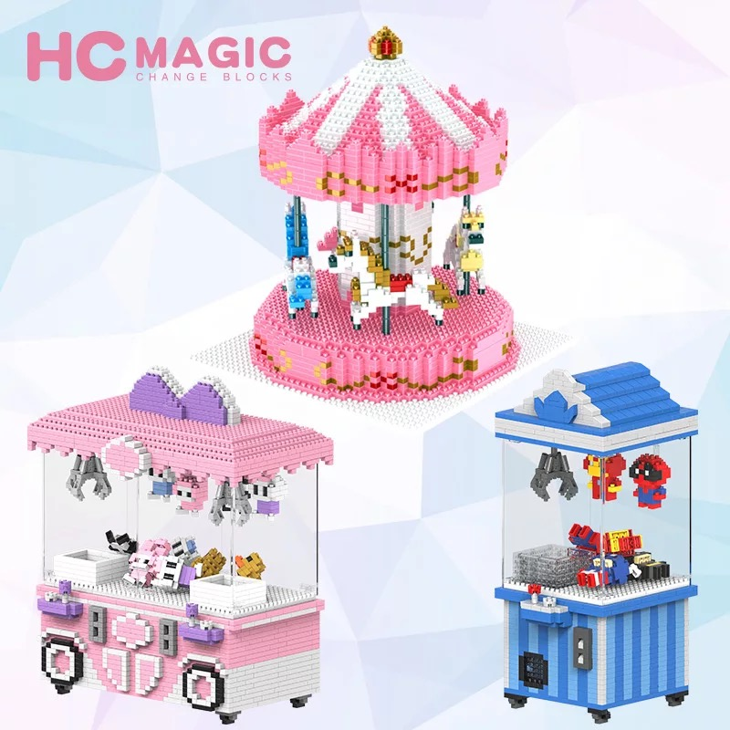 HC-Small-Blocks-Cute-Cartoon-Building-Toy-merry-go-round-Game-Model-UFO-CATCHER-Bricks-Brinquedos