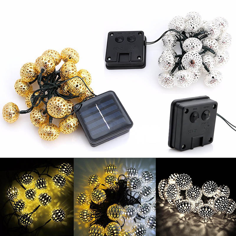 Newest Romantick 20 LED Solar Powered Metal Moroccan Ornament LED String Lights for Garden Wedding Party Christmas