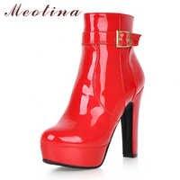Meotina 女性ブーツ冬のアンクルブーツパテントレザー超高ヒールショートブーツバックルプラットフォームブロックハイヒールの靴のサイズ 3 43