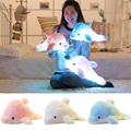 45cm Colorful Changing LED Light Plush Dolphin Stuffed Cartoon Animals LED Glowing Luminous Night Light Plush Toy