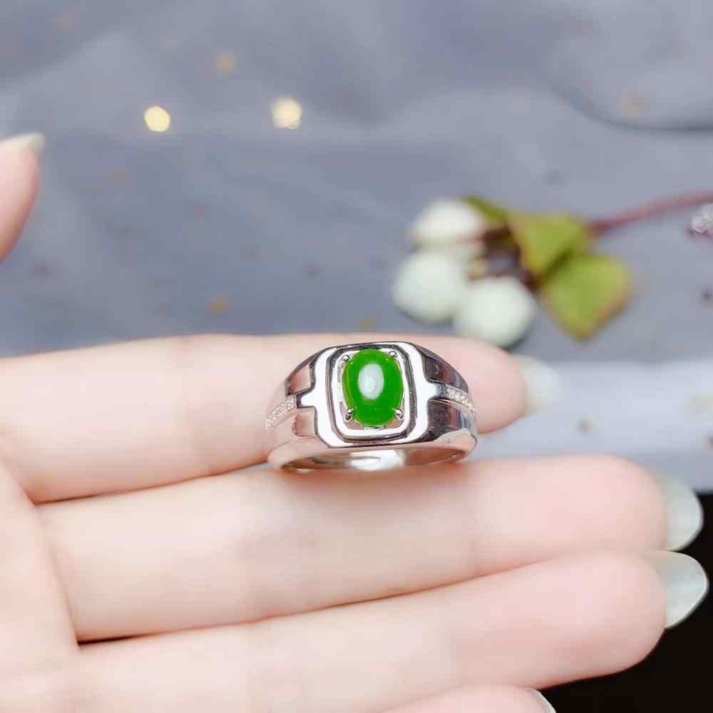 สีเขียว Hetian หยกแหวนเงินเครื่องประดับโปรโมชั่นราคา