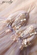 Vestido Noiva 2020 Sexy paski Spaghetti Backless kwiaty plaża suknia ślubna długi kryształ Boho weselny suknie piętro długość W30