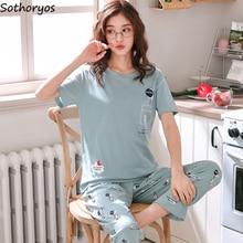 Pajama Sets Women Summer Korean Style Ladies Cotton Cartoon