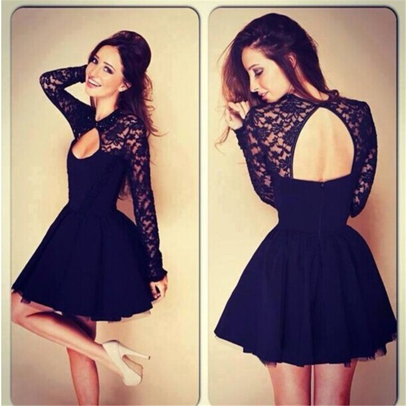 New Fashion Black Lace Long Sleeve Prom Dresses 2019 Vestidos De Fiesta Noble Sheer Chest Slit Party Dresses Kaftan Best Selling