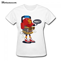 Worst Letter Print Cool Robot Womens T Shirt Cheap Price O Neck Tshirt Organizer His And