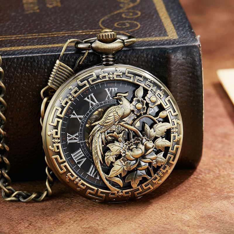 Presentes de Casamento Cadeias de Relógio de Bolso Retro Vintage Dragão Phoenix Flor Luckly Amante Escultura Requintado Mecânico Relógio Esqueleto