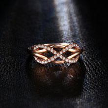 17KM New Cubic Zirconia Crystal Infinite Rings For Women Fashion Design Statement Rose Gold Sliver Color Ring Wedding Jewelry