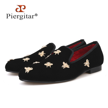 Bee metal men velvet shoes party and wedding men loafers Luxury brands DG men's dress shoes