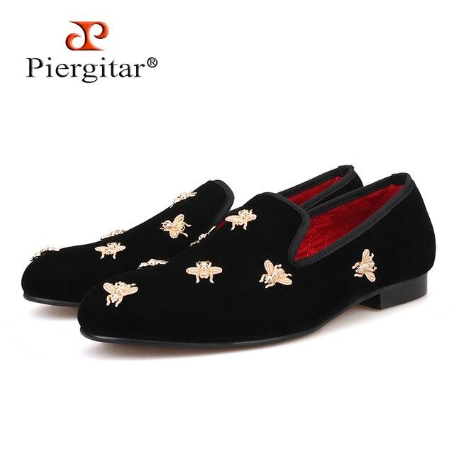 Bee metal men velvet shoes party and wedding men loafers Luxury brands DG men's dress shoes