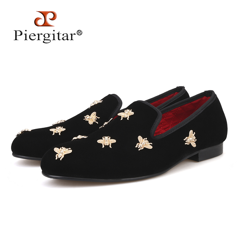Piergitar new Bee metal men velvet shoes party and wedding men loafers Luxury brands DG men's dress shoes fashion men's flats набор д детского творчества резинки rainbow loom тёмно зелёный b0012