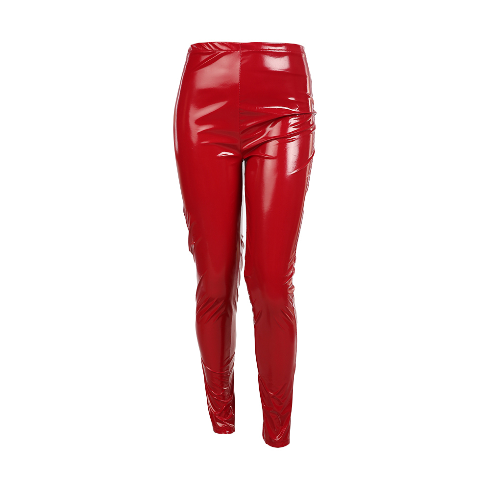 S-3XL-Plus-Size-wet-look-Leather-Leggings-Women-High-Waist-Leggings-Stretch-Slim-red-Black