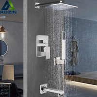 起毛ニッケルシャワーミキサータップ風呂のシャワーセット蛇口シングルハンドルと 3 方法ミキサーバルブ真鍮バススパウトハンドシャワーヘッド