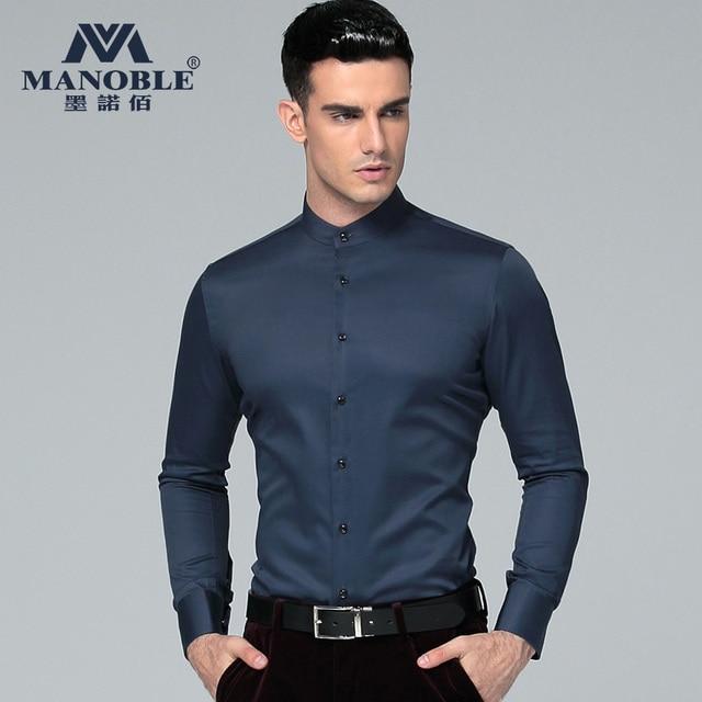 bb099704 cotton long-sleeve shirt male business shirt Silk Casual Luxury Stylish  white stand collar shirt Fashion Brand Men Clothes
