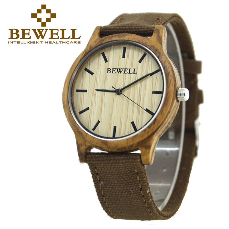 BEWELL Wood Watch Men and Women Canvas Strap Ultra-Thin Simple Quartz Watches Christmas Gift for Men Wristwatches Family 134A 661 men quartz watch with canvas strap