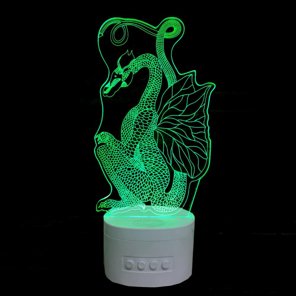 3d night light bluetooth haut parleur musique hippocampe forme animal table bureau lampe chambre lumière dans led night lights de lumières et éclairage sur