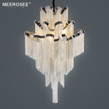 Silver Chain Chandelier Lights Fixture Aluminum French Chandeliers Lighting Luminaire Hanging Drop Project