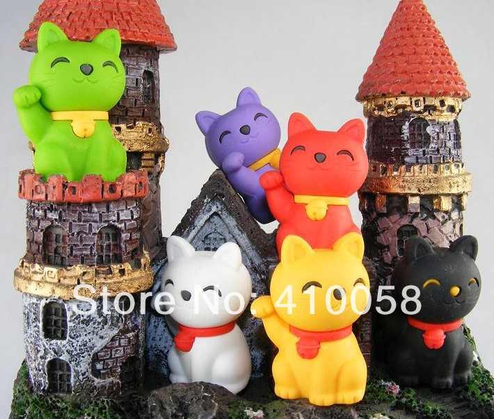 Free Shipping Cute Mixed Color Animal Fortune Cat /lucky Cat Eraser 120pcs/lot Creative School  Children Prize Eraser