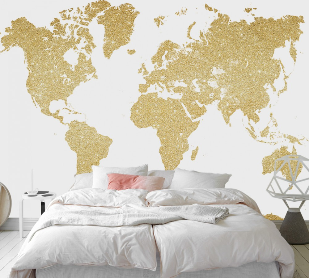 Free Shipping Custom 3d Wallpaper European Modern Minimalist World Map Background Wall Painting Frosted Golden Living Room Mural free shipping large mural wallpaper villa living room ceiling european oil painting wallpaper