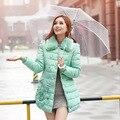 Плюс Размер Женщин Длинный Тонкий Хлопок-проложенный Зимнее Пальто Меховой Воротник Теплая Куртка Молнии Женский Верхняя Одежда 2016 Новая Мода L-4XL ZP808