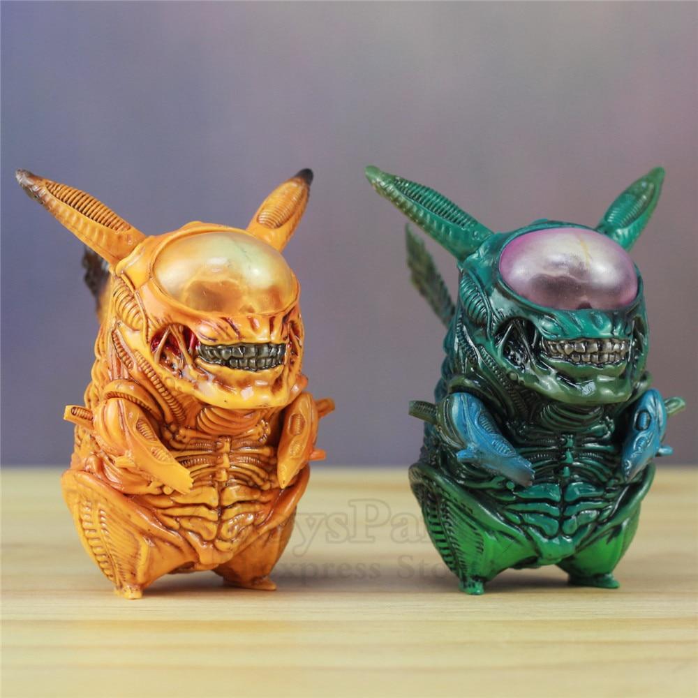 COOL! Alien Pikachu 8.5cm PVC Funny Figure Pikachu Mix Xenomorph Warrior Aliens VS Predator AVP Cute Q GAME FREAK Doll Toys NEW