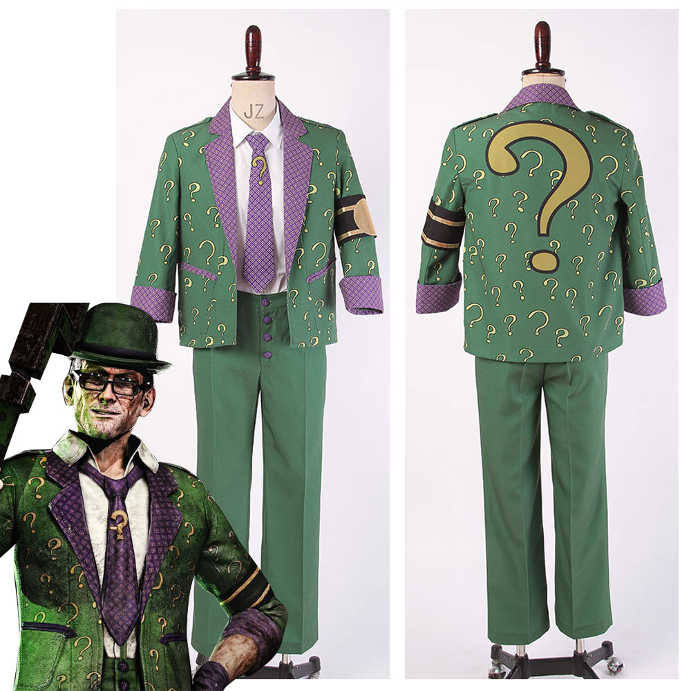 Batman: Arkham City The Riddler Dr. Edward Nigma tenue Costume Cosplay manteau + pantalon + chemise + cravate + gants