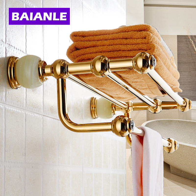 Wall Mounted Bath Towel Rack,Bathroom Accessories Products Jade Golden Towel Bar Towel Holder bathroom shelves wall mounted towel rack bars bath towel carved holder 2 tier brass bathroom accessories towel tack ssl s22