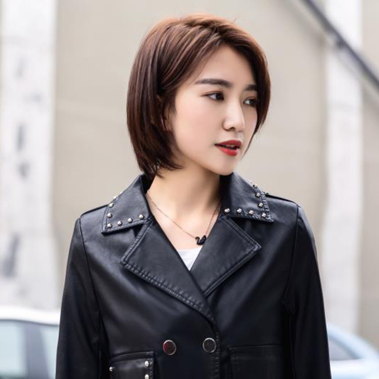 2018 Punk Style Women Black Short Faux Leather Jacket Female Motorcycle Biker Leather Jacket Slim Fit Coat With Rivet XXXL