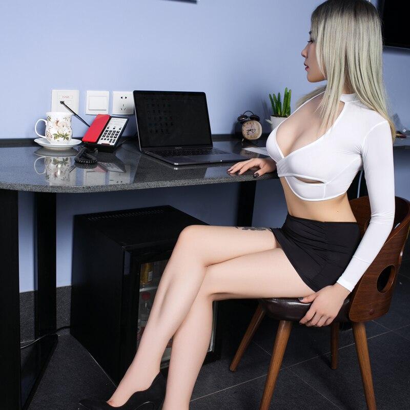 Sexy Women Tight Pencil Cute Skirt Ice Silk See Through Micro Mini Skirt Transparent OL Sexy Skirt Fantasy Erotic Wear F10