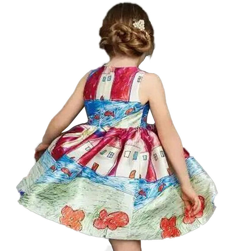 2016 Kids Girl Cotton Floral Print Dress Wedding Party Princess Dress Sundress Child Clothes 2-7Y 2017 new summer children girl long sleeve lace dress kids clothes cotton child party princess tank girl dress sundress age 2 10y
