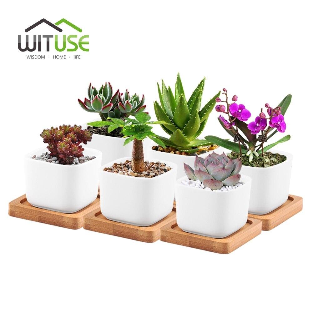 WITUSE 6pcs/Set Tiny Bonsai Ceramic Succulent Plant Flower Pot Modern Decorative White Square Pot Planters With 6 Bamboo Holders