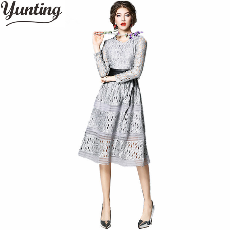 2018 Vestidos New Autumn Fashion Hollow Out White Black Party Lace Dress High Quality Women Long Sleeve Slim Casual Dresse