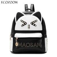 Women Fashion PU Leather Backpack Teenager Girl Cartoon School Bags Student Bookbag Cat Ear Design Mochila