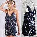 Starlist Women Fashion Sexy Club Sleeveless V Neck Sequined Spaghetti Strap Mini Dress Loose Above Knee Dresses