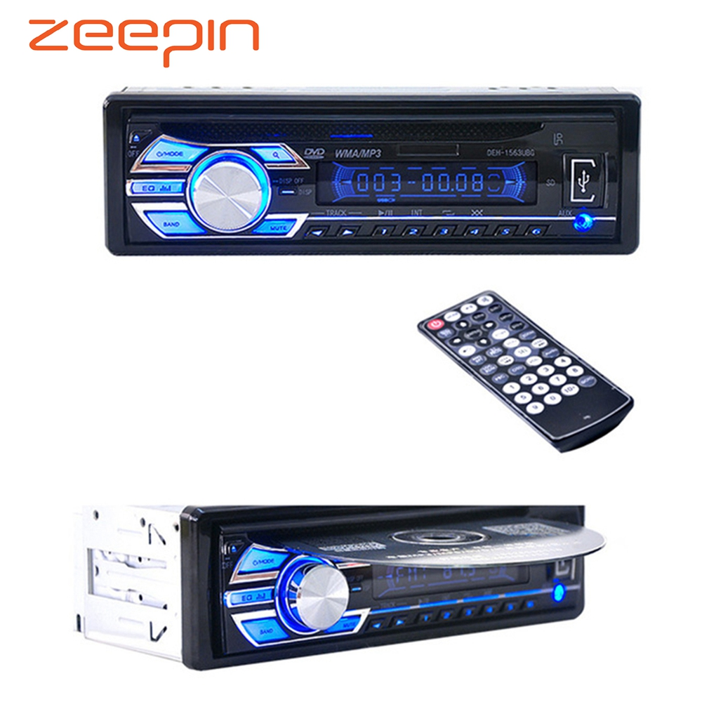 12V <font><b>Car</b></font> Stereo FM Radio MP3 <font><b>Audio</b></font> Player Support FM USB SD DVD Music CD Player AUX Mic with Remote Control radio In-Dash <font><b>1</b></font> <font><b>DIN</b></font> image