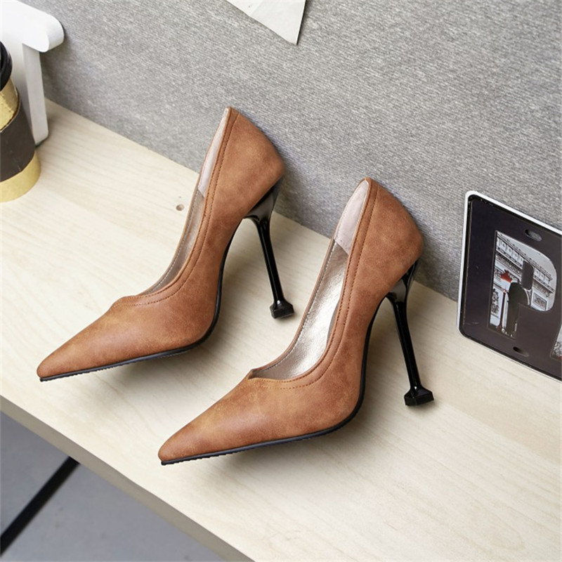 Plus Size 34 48 Fashion Women Solid Colors Slip On Femme Sexy Pumps Pointed Toe Ladies Shoes Dress Thin High Heel Wedding Party in Women 39 s Pumps from Shoes