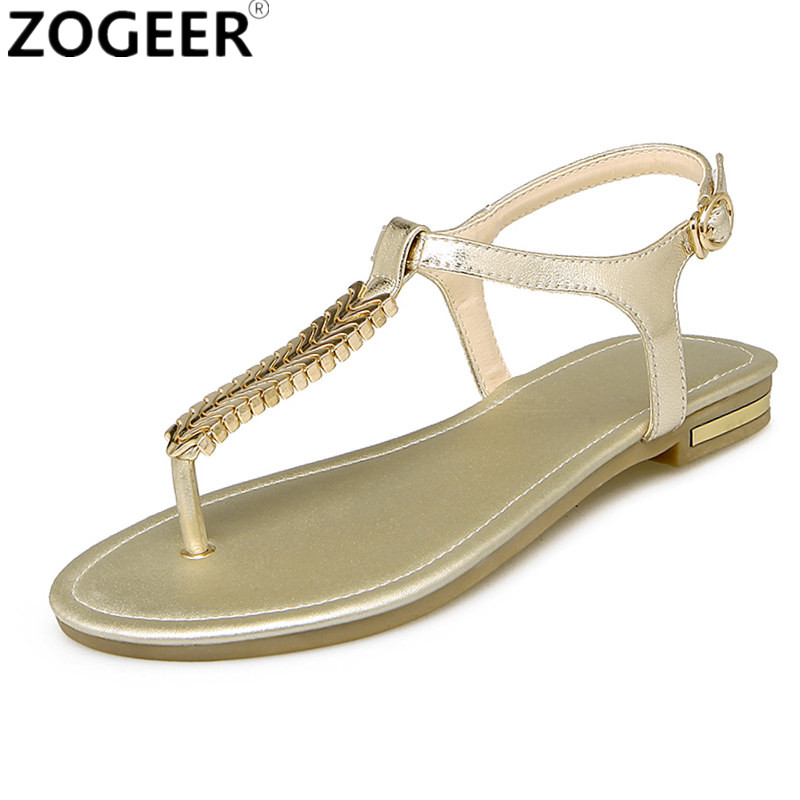 5467a7cf05366b ... 2018 Women Summer Sandals Genuine Leather Flip Flops Flat Heel Sandals  Women Sequined Ankle Strap Beach  Rhinestone ...