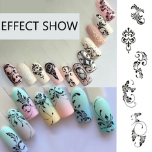 Full Beauty 1pc Black Flower Vine Nail Water Sticker Leaf Lace Design Slider Nail Art Decal Beauty Foils Decoration CHSTZ645-658