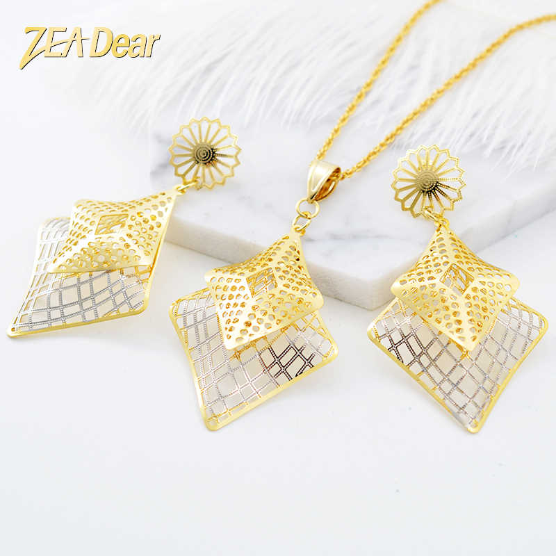 ZEADear Jewelry Fashion Jewelry 2019 Earrings Pendant Jewelry Sets Women Gold Color Copper Cross Hollow Out For Party Wedding