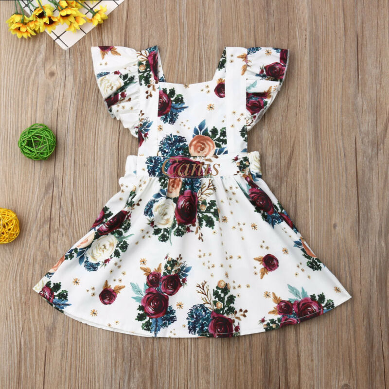 0-4 Years,SO-buts Toddler Kids Baby Girls Short Sleeve Floral Print Princess Dress Outfits Summer Fashion Casual Dresses Clothes