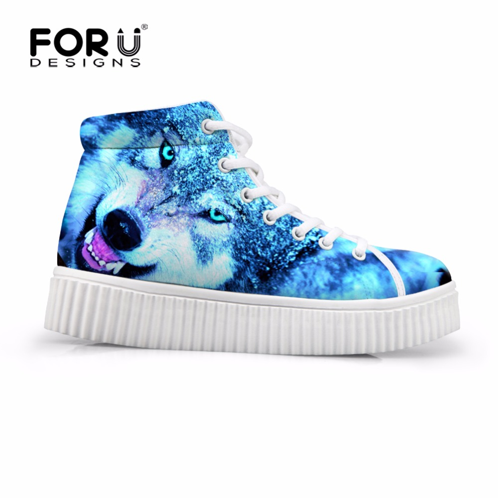FORUDESIGNS High Increasing Flats Shoes Women Creepers Platform Shoes 3D Animal Cool Wolf Casual High Top Shoes Woman Zapatos phyanic 2017 gladiator sandals gold silver shoes woman summer platform wedges glitters creepers casual women shoes phy3323
