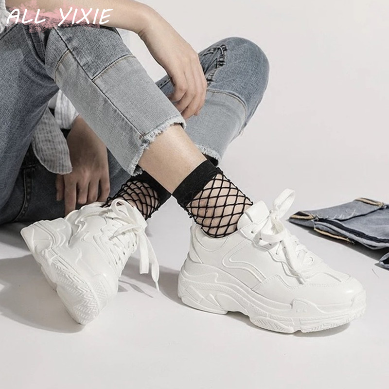 ALL YIXIE 2019 New Summer White Mesh Women Sneakers Fashion Thick Bottom Womens Platform Sneakers Casual Shoes Zapatos De Mujer(China)