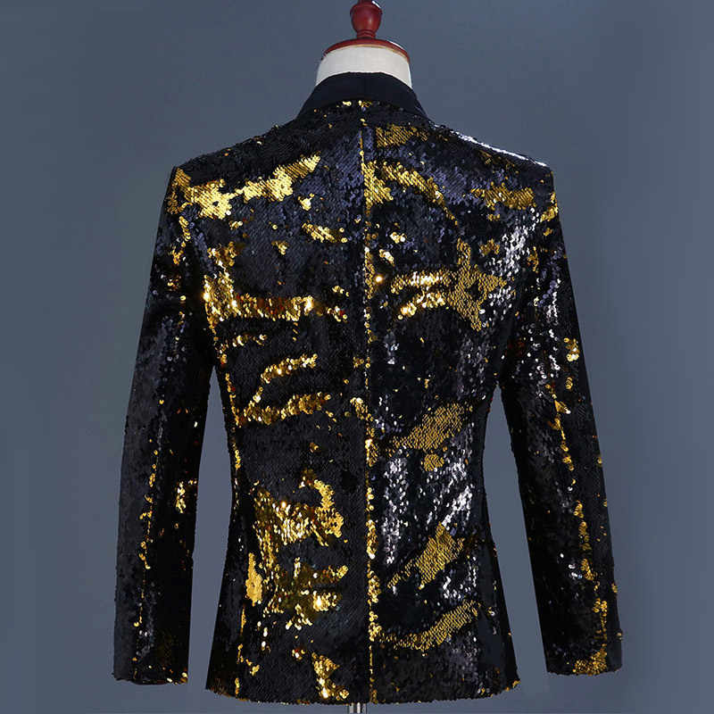 ... Gold Black Sequin Glitter Blazer Jacket Men Fashion Shawl Collar Mens  Flipping Blazers Stage Prom Nightclub ... 1f8911fcd2f8