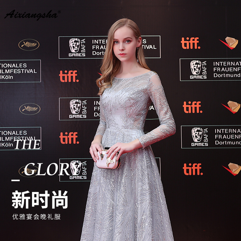 2018 New arrival Celebrity Dresses Scoop Neck Floor Length Long Sleeves Grey Color Elegant Customized A Line Fashionable Dresses
