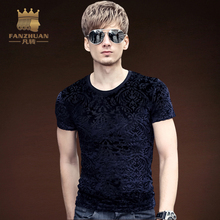FANZHUAN Featured Brands Clothing New Arrival 2017 men Designer Vintage T Shirt Casual Slim Fit Shirts Tops Asian Size M-5XL